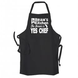 Personalised Men's Black 'YES CHEF' cooking apron. Great Fathers day gift.