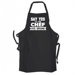 Personalised Men's Black 'YES CHEF' cooking apron In black With White Print. Great Fathers day gift.