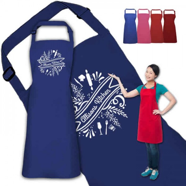 Unusual Ornamental Design Personalised Colour Apron Ladies Fun Chef Kitchen Cooking Dinner, Quality Apron
