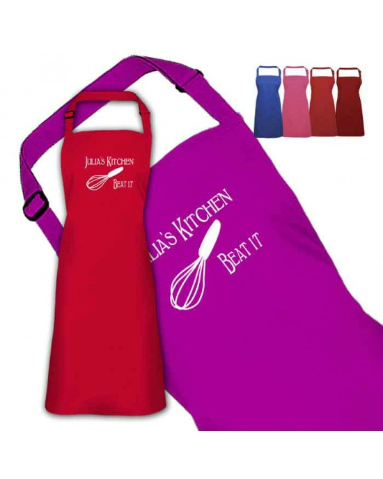 Beat it funny Design Personalised Colour Apron Ladies Fun Chef Kitchen Cooking Dinner, Quality Apron