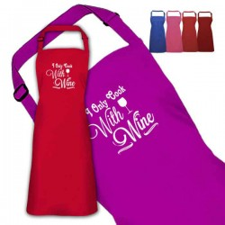 Cook With Wine Design Personalised Colour Apron Ladies Fun Chef Kitchen Cooking Dinner, Quality Apron
