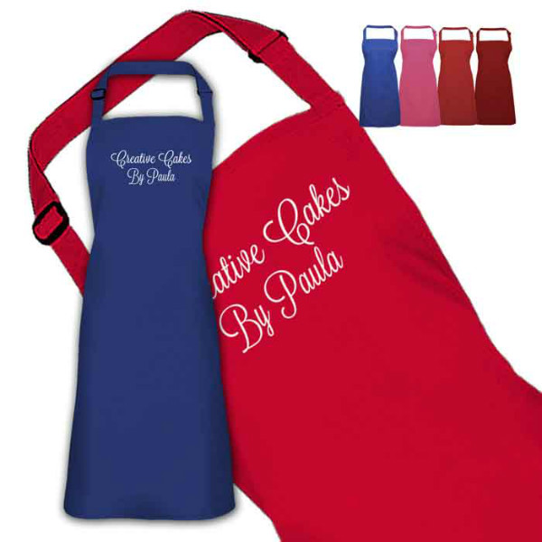 Beautiful Scrolling Text Design Personalised Colour Apron Ladies Fun Chef Kitchen Cooking Dinner, Quality Apron