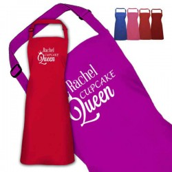 Queen Of Cupcakes Design Personalised Colour Apron Ladies Fun Chef Kitchen Cooking Dinner, Quality Apron