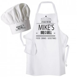 Your Name, BBQ & Grill Design, Cooking, Apron & Chef Hat Set. White Only.