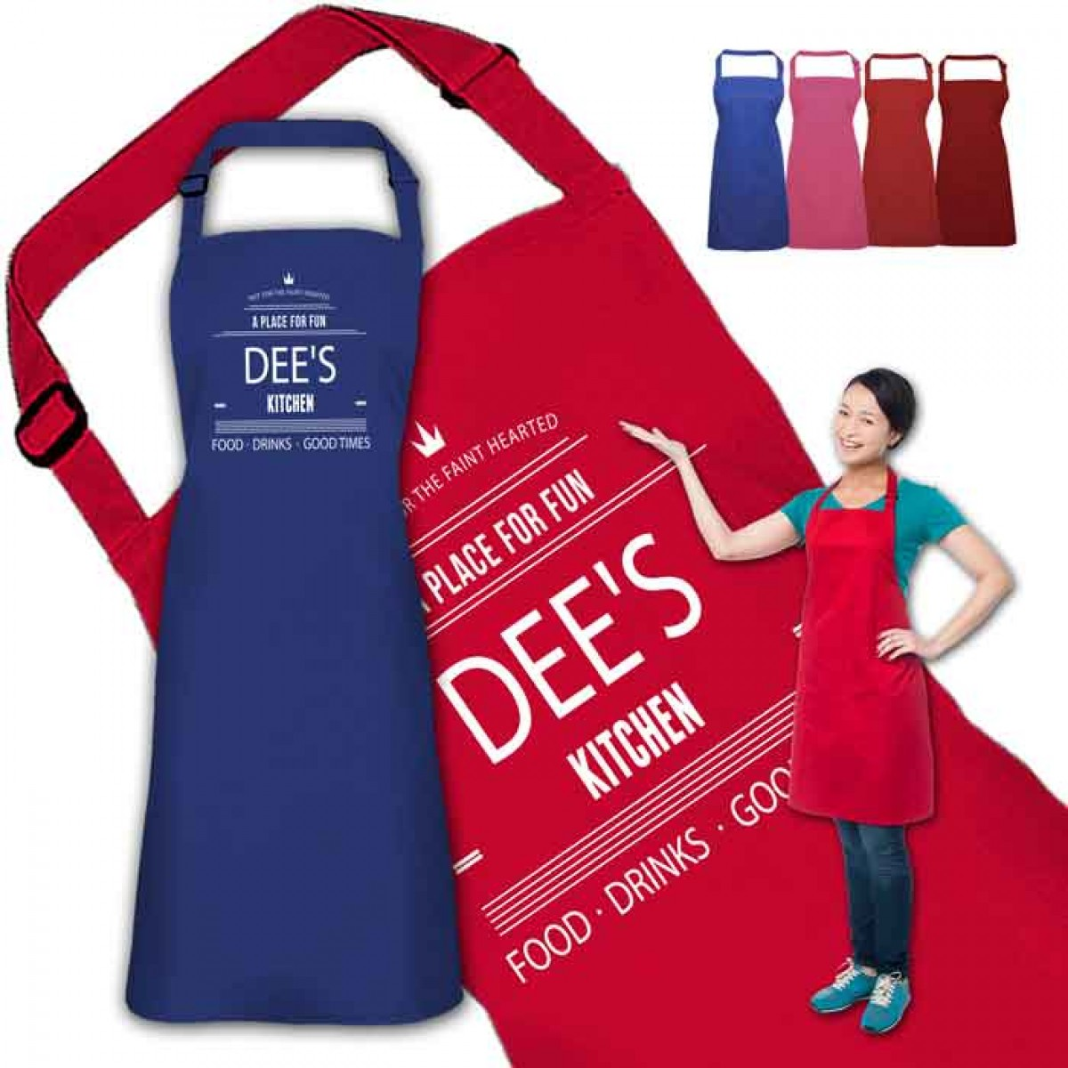 A place for fun Design Personalised Colour Apron Ladies Fun Chef ...