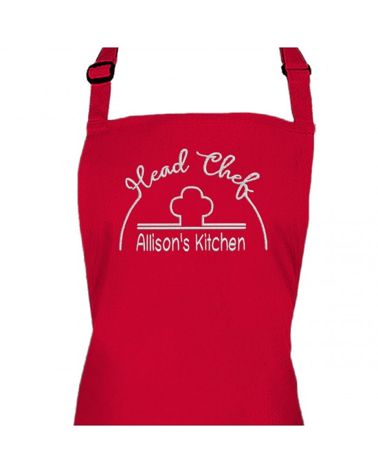 Personalised Embroidered Adult Cooking Apron. Head chef design, thread colour choices.