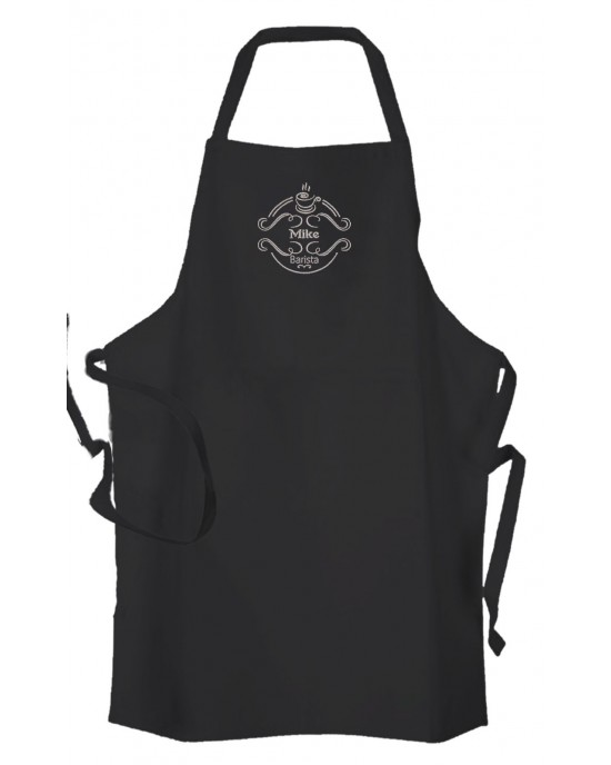 Personalised ,Premium Black Apron  A Lovely Barista Embroidered Design