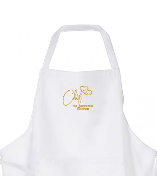 Personalised ,Premium White Apron  A Lovely Embroidery Chef Design.