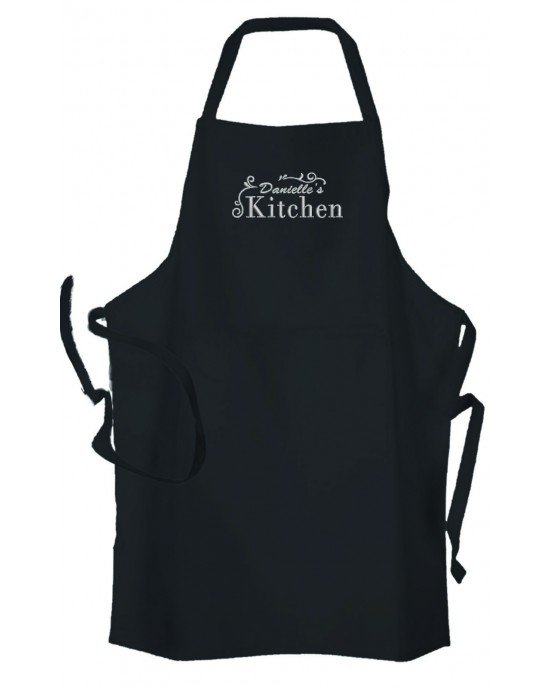 Personalised ,Premium Black Apron  A Lovely Embroidery Kitchen Design.