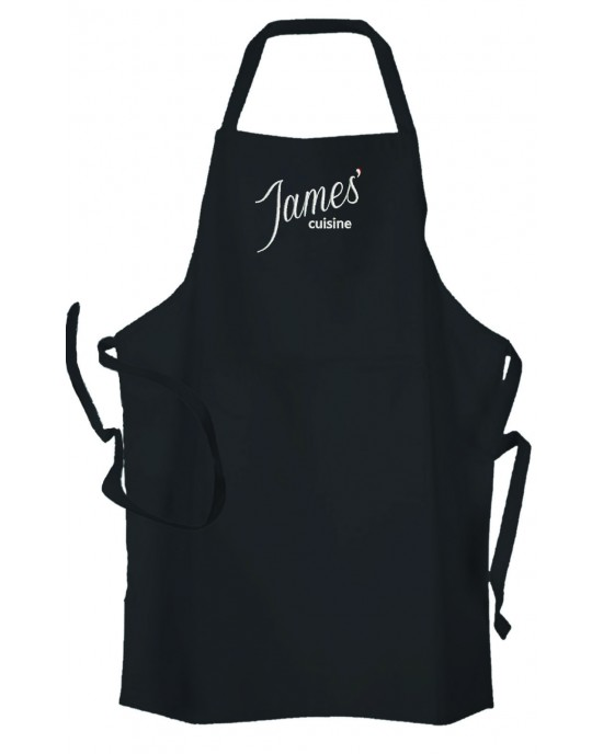 Personalised ,Premium Black Apron  A Lovely Cuisine Embroidered Design