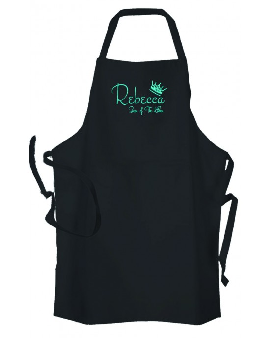 Personalised ,Premium Black Apron  A Lovely Embroidery Queen of The Kitchen Design.
