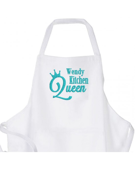 Personalised ,Premium White Apron  A Lovely Embroidery Queen of The Kitchen Design.