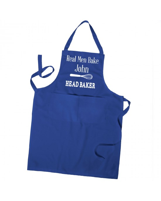 Personalised Mens Apron, Real Men Bake Apron, Baking Chef Apron in Colours With Pockets