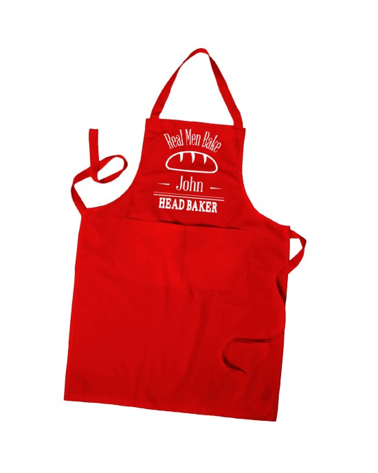 Personalised Mens Apron, Real Men Bake Apron Head Chef Apron in Colours With Pockets