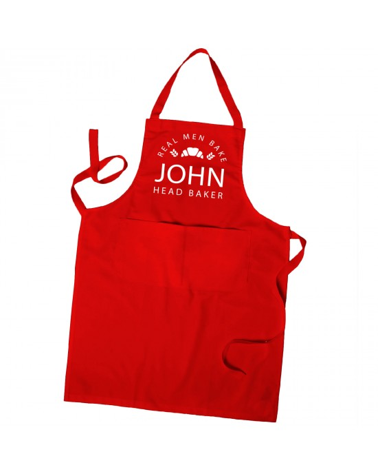 Personalised Mens Apron, Baking Chef, Apron Real Men Bake Apron in Colours With Pockets