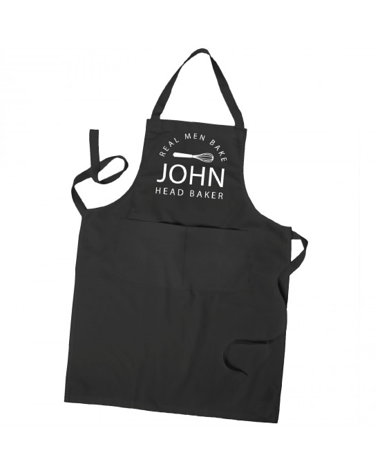Personalised Real Men Bake cooking apron. Personalised with their name in Colours With Pockets