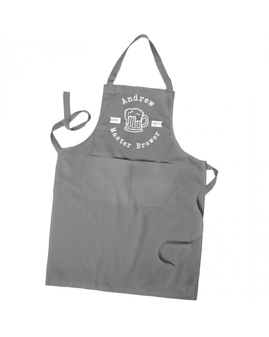 Personalised Master Brewer apron. Personalised with their name in Colours With Pockets