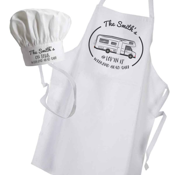 Motor Home Camping Chef Personalised Apron & hat set.