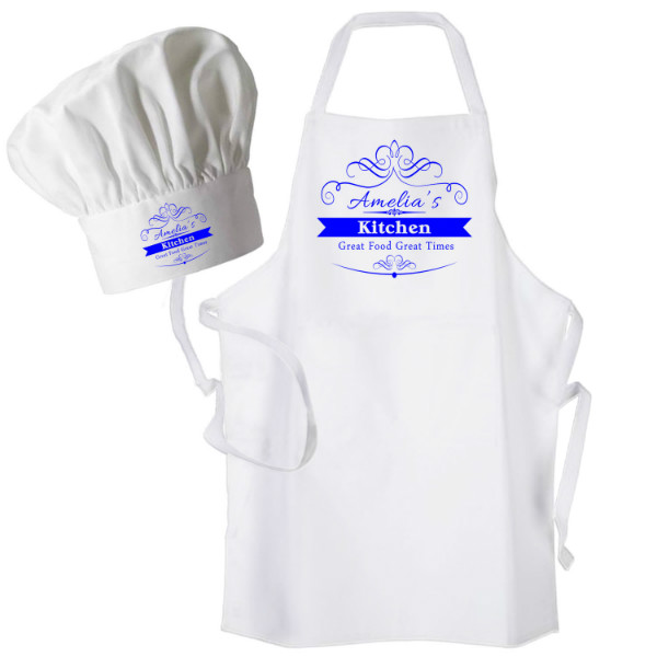 Scroll Design Apron & Chef Hat Set. Personalised Apron .Ladies Fun Chef's Hat + Kitchen Cooking Quality