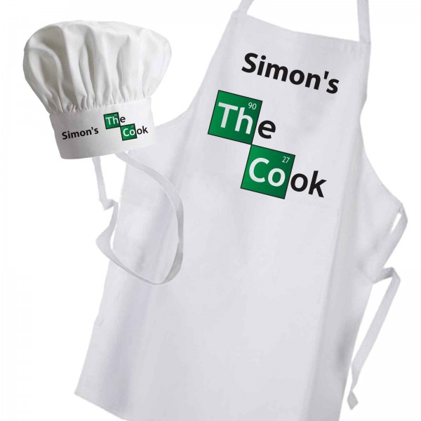 Breaking bad inspired Personalised Apron & hat set. Let's Cook Personalised with any name, great gift for fans.