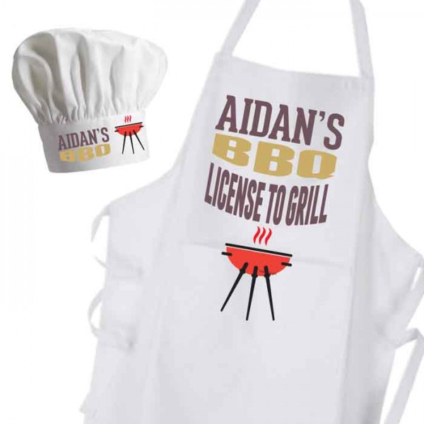 Licensed To Grill BBQ Apron & Chef Hat Set.
