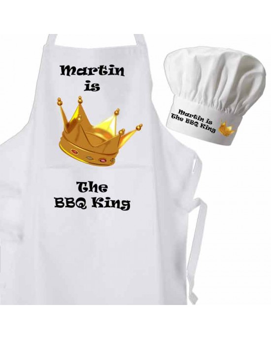 BBQ King With Large Crown Apron & Chef Hat Set.