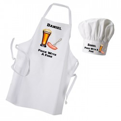 Prick With A Fork Premium Apron & Chef Hat Set.