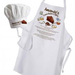 Chocolate Cake inspired Apron, with a graphic recipe for the chocolate cake. Personalised with any name...