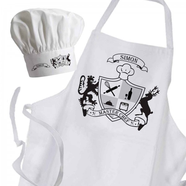 A coat of arms is a unique heraldic design on an Personalised Apron & hat set. Made for a master Chef personalised with a name