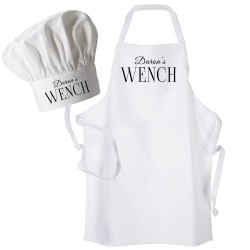 Wench Apron Apron & Chef Hat Set. Personalised Apron .Ladies Fun Chef's Hat + Kitchen Cooking Quality