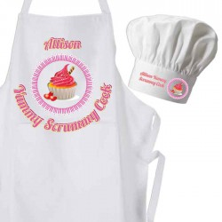 The Yummy Cup Cake Cook Apron & Chef Hat Set.