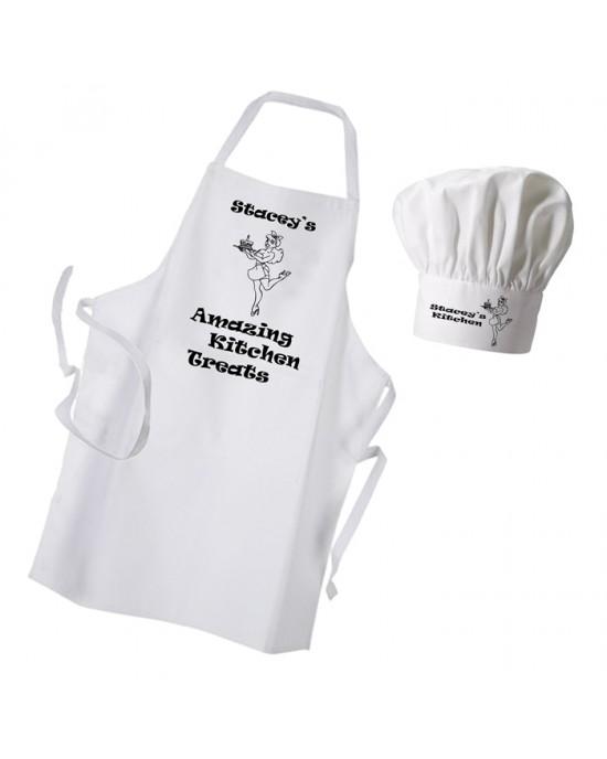 Amazing Kitchen Treats Apron & Chef Hat Set.