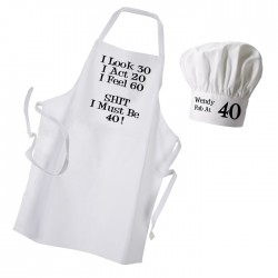 Look Act Feel Premium Apron & Chef Hat Set. Change The Text To Suite You.
