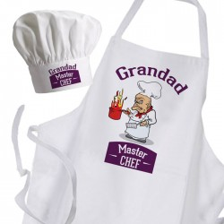 Comic Fun Joke Personalised Cooking Granddad Chef's Apron & Chef Hat Set.