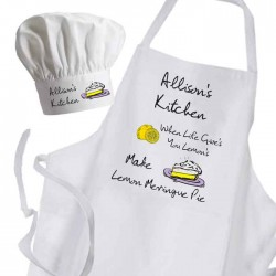 When Life Give's You Lemon's Make Lemon Meringue Pie Cooking Kitchen Woman's, Ladies Apron & Chef Hat Set.