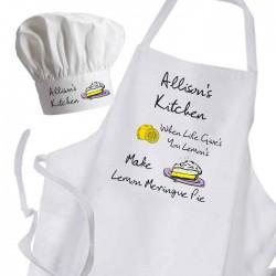 When Life Give's You Lemon's Make Lemon Meringue Pie Cooking Kitchen Woman's, Ladies Apron & Chef Hat Set.