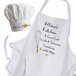 A Good Cook Is Like Magic Cooking Kitchen Woman's, Ladies Apron & Chef Hat Set.