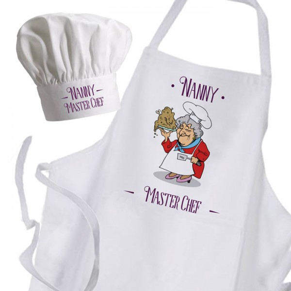 Comic Fun Joke Personalised Cooking Nana / Grandma Chef's Apron & Chef Hat Set.