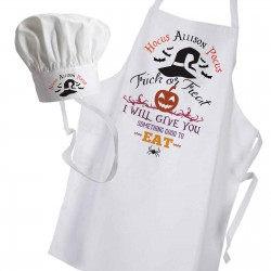 Halloween Trick or Treat Personalised Cooking Fun White Apron & Chef Hat Set.