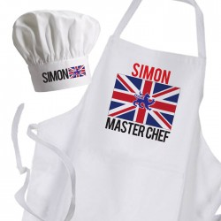 UK England Flag Personalised Fun White Apron & Chef Hat Set.