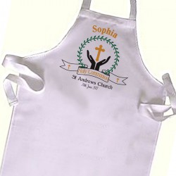 Kids First Communion Baptism White Apron.