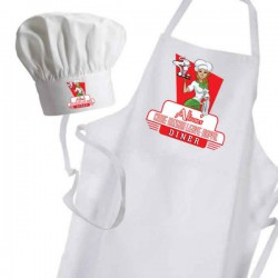 American Dinner, Personalised Apron. Ladies Fun Chef Kitchen Cooking Dinner, Christmas Gift