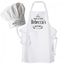 Bistro, Dinner, Black Print Personalised Apron. Ladies Fun Chef Kitchen Cooking Dinner, Christmas Gift