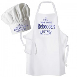 Bistro, Dinner, Blue Print Personalised Apron. Ladies Fun Chef Kitchen Cooking Dinner, Christmas Gift