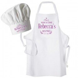 Bistro, Dinner, Pink Print Personalised Apron. Ladies Fun Chef Kitchen Cooking Dinner, Christmas Gift