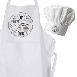 Vintage Home Baked With Love design, White Personalised Apron Set or Individual Items.
