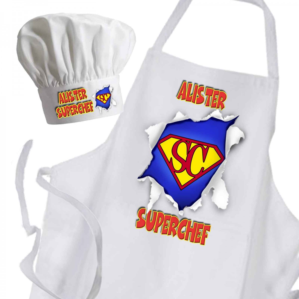 White apron and hat - Super Chef White Unisex Premium Cooking Kitchen Apron Chef Hat Set Or Available As Individual Items