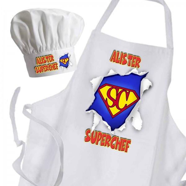 Super Chef White Unisex Premium Cooking Kitchen Apron & Chef Hat Set or Available as individual Items.