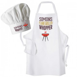 The Big Wopper Chef Hat & Apron, BBQ, Grill Personalised Apron Only Option.