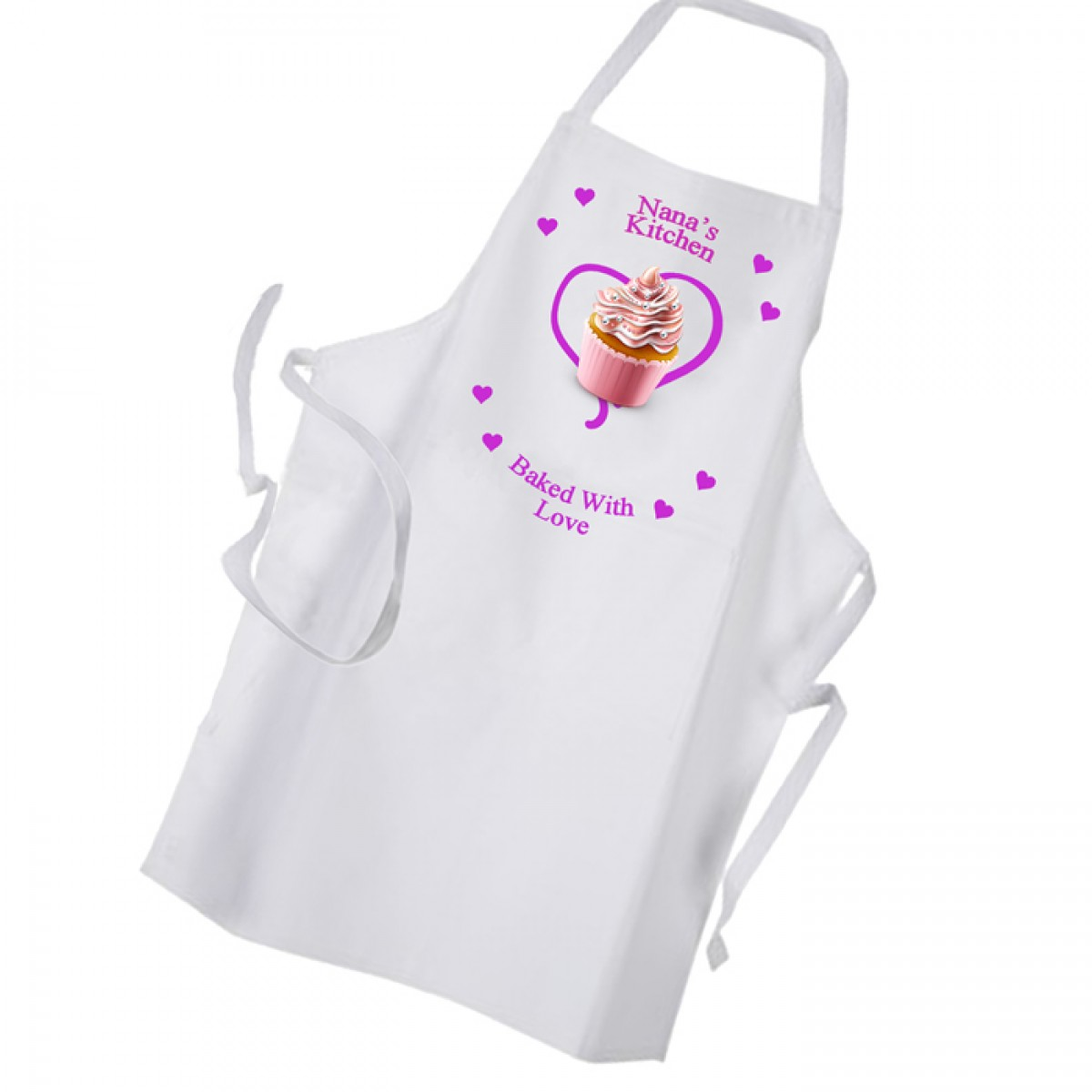 White apron ladies - Baked With Love Heart Personalised Ladies Kitchen Cup Cake White Apron